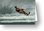 Water Athletes Greeting Cards - Water Skiing Magic Of Water 2 Greeting Card by Bob Christopher