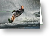 Water Athletes Greeting Cards - Water Skiing Magic of Water 20 Greeting Card by Bob Christopher