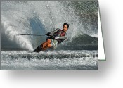 Water Athletes Greeting Cards - Water Skiing Magic of Water 21 Greeting Card by Bob Christopher
