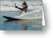 Water Athletes Greeting Cards - Water Skiing Magic of Water 22 Greeting Card by Bob Christopher