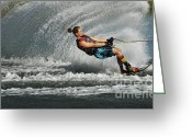 Water Athletes Greeting Cards - Water Skiing Magic of Water 23 Greeting Card by Bob Christopher