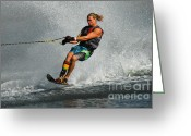 Water Athletes Greeting Cards - Water Skiing Magic of Water 24 Greeting Card by Bob Christopher