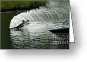 Water Athletes Greeting Cards - Water Skiing Magic of Water 25 Greeting Card by Bob Christopher