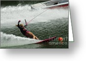 Water Athletes Greeting Cards - Water Skiing Magic of Water 28 Greeting Card by Bob Christopher