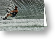Water Athletes Greeting Cards - Water Skiing Magic of Water 3 Greeting Card by Bob Christopher