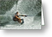 Water Athletes Greeting Cards - Water Skiing Magic of Water 34 Greeting Card by Bob Christopher