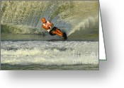 Water Athletes Greeting Cards - Water Skiing Magic of Water 4 Greeting Card by Bob Christopher