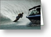 Water Athletes Greeting Cards - Water Skiing Magic of Water 6 Greeting Card by Bob Christopher