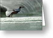 Water Athletes Greeting Cards - Water Skiing Magic of Water 9 Greeting Card by Bob Christopher