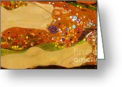 The Kiss Greeting Cards - Water Snakes II by Gustave Klimt Greeting Card by Pg Reproductions