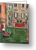 Venice Waterway Greeting Cards - Water Taxi On Venice Side Canal Greeting Card by Charlotte Blanchard