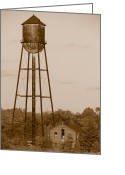 Factory Greeting Cards - Water Tower Greeting Card by Olivier Le Queinec
