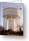 Broadcast Antenna Greeting Cards - Water Tower Greeting Card by Victor De Schwanberg