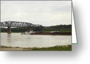 Mississippi River Scene Greeting Cards - Water Under the Bridge Greeting Card by Jane Eleanor Nicholas