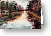 Shores Painting Greeting Cards - Water-Way Oil Painting Greeting Card by Abbie Shores