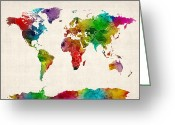Map Of The World Greeting Cards - Watercolor Map of the World Map Greeting Card by Michael Tompsett