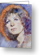 Hyper Greeting Cards - Watercolor of Barbra Streisand SUPER HIGH RES  Greeting Card by Mark Montana