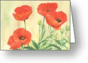 Sunflower Studio Art Greeting Cards - Watercolor of Red Poppies 3 Colorful Floral Art Greeting Card by K Joann Russell