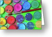 Tin Greeting Cards - Watercolor Palette Greeting Card by Carlos Caetano