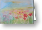 Flower Photographs Painting Greeting Cards - Watercolor Poppies Greeting Card by Julie Lueders