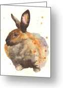 Nursery Decor Greeting Cards - Watercolor Rabbit Print - I am Tahiti Greeting Card by Alison Fennell