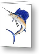 Sea Life Mixed Media Greeting Cards - Watercolor Sailfish Greeting Card by Carol Lynne