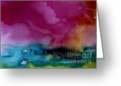 Julianne Felton Greeting Cards - Watercolor Sea Expression 2  4-24-12 julianne felton Greeting Card by Julianne Felton