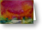 Julianne Felton Greeting Cards - Watercolor Sea Expression I 4-24-12 julianne felton Greeting Card by Julianne Felton