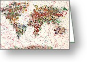 Earth Map Greeting Cards - Watercolor Splashes World Map 2 Greeting Card by Georgeta  Blanaru