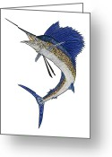 Sea Life Mixed Media Greeting Cards - Watercolor Tribal Sailfish Greeting Card by Carol Lynne