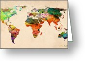 Urban Watercolour Greeting Cards - Watercolor World Map  Greeting Card by Mark Ashkenazi