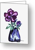 Blue Leaves Greeting Cards - Watercolored Roses Digitalized Greeting Card by Marsha Heiken