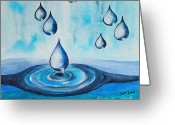 Puddle Painting Greeting Cards - Waterdrops Greeting Card by Jutta Maria Pusl