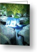 Lanscape Pastels Greeting Cards - Waterfall 1985 Greeting Card by Douglas Kriezel