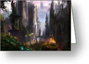 Environment Greeting Cards - Waterfall Celtic Ruins Greeting Card by Alex Ruiz