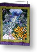 Blues Tapestries - Textiles Greeting Cards - Waterfall Garden Quilt Greeting Card by Sarah Hornsby