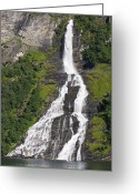 Most Greeting Cards - Waterfall In A Fjord, Norway Greeting Card by Dr Juerg Alean