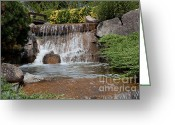 Oceania Greeting Cards - Waterfall in a Japanese Garden Greeting Card by John Buxton