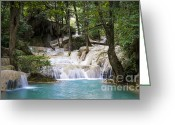 Woodland Plant Greeting Cards - Waterfall In Deep Forest Greeting Card by Setsiri Silapasuwanchai