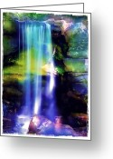 Morning Mist Images Greeting Cards - Waterfall in Sunlight Greeting Card by Judi Bagwell