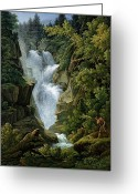 Gully Greeting Cards - Waterfall in the Bern Highlands Greeting Card by Joseph Anton Koch