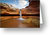 Canyon Greeting Cards - Waterfall Of Desert Greeting Card by William Church - Summit42.com