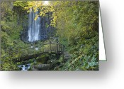 Splashing Greeting Cards - Waterfall of Vaucoux. Puy de Dome. Auvergne. France Greeting Card by Bernard Jaubert
