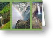Destinations Digital Art Greeting Cards - Waterfall Triptych Greeting Card by Steve Ohlsen