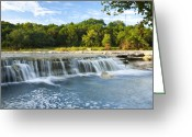 Creeks Greeting Cards - Waterfalls At Bull Creek Greeting Card by Mark Weaver