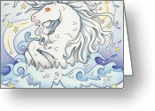 Magic Drawings Greeting Cards - Waterhorse Emerges Greeting Card by Amy S Turner