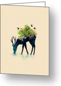 Deer Greeting Cards - Watering A life into itself Greeting Card by Budi Satria Kwan