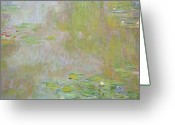 Oil On Canvas Painting Greeting Cards - Waterlilies at Giverny Greeting Card by Claude Monet