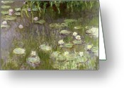 Lily Pad Greeting Cards - Waterlilies at Midday Greeting Card by Claude Monet
