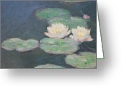 Pond Painting Greeting Cards - Waterlilies Greeting Card by Claude Monet